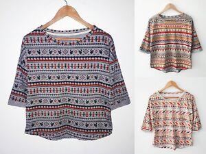 Women-Ladies-3-4-Sleeve-Multi-Colour-Geometric-Print-T-shirt-Top-One-Size-8-12