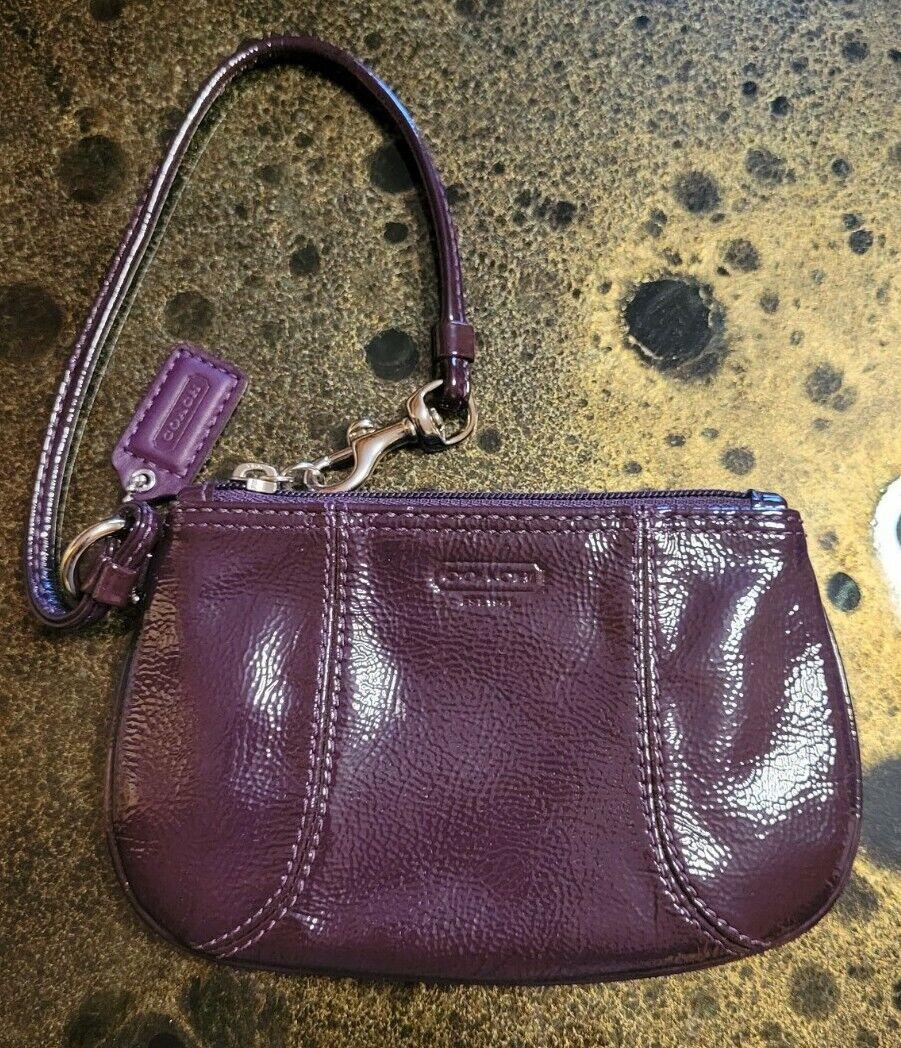 Coach Signature Leather Small Wristlet Purple