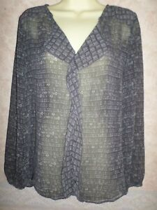 MARKS-AND-SPENCER-PER-UNA-BLACK-amp-GREY-SHEER-BLOUSE-SIZE-16