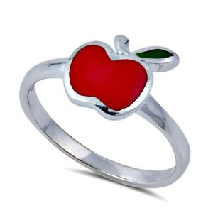 .925 Sterling Silver Ring size 2 Kids Heart Baby Apple Ladies Midi Ring New px52