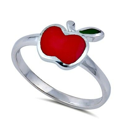 .925 Sterling Silver Ring size 4 Kids Heart Baby Apple Ladies Midi ring New px52