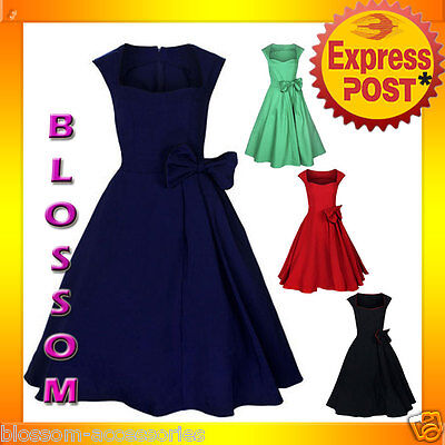 RK52 Rockabilly Vintage Swing Work Evening Dress 40s 50s Retro Emo Pin Up Plus