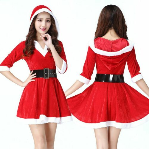 Women Christmas Santa Claus Red Hoodie Dress with Belt Xmas Costume Outfit Set