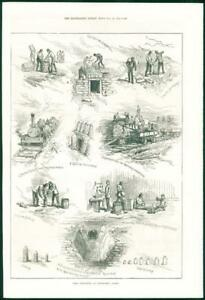 1874-Antique-Print-SUSSEX-Eastbourne-Siege-Operations-Battery-Defence-171
