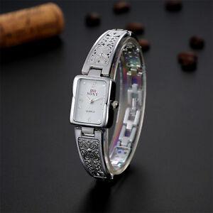 Mode-Damen-Uhr-Gold-Silber-Armbanduhr-Uhren-Kette-Edelstahl-Armband-Armreif-ED