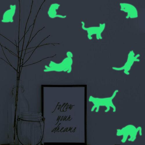 9pcs Katze Leuchtend Schalter Sticker Schlafzimmer Decor Glow Wandtattoos Phone