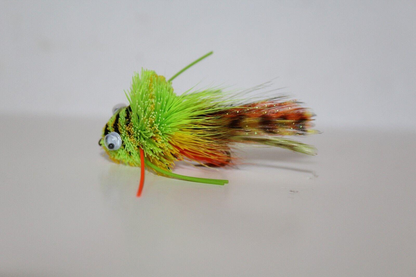2 or 3 Dozen, Brookside Flies, Mini Diver Frog Chart orange Yellow, Size 4, 6
