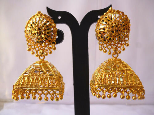 22K Gold Plated Indian Full Earrings With Jhumka Wedding Gorgeous Jewelry abc