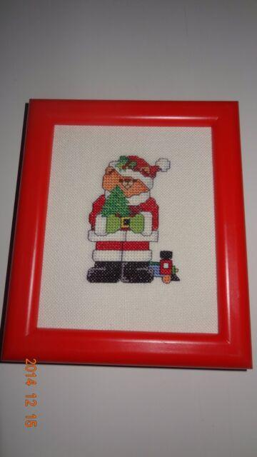 Santa Bear red frame Finished Cross Stitch