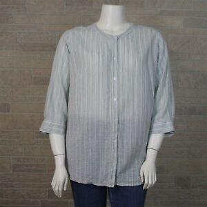 b9ab5e3881b Lane Bryant Woman Plus 22W 24W Green Tan Stripe Linen 3 4 Sleeve ...