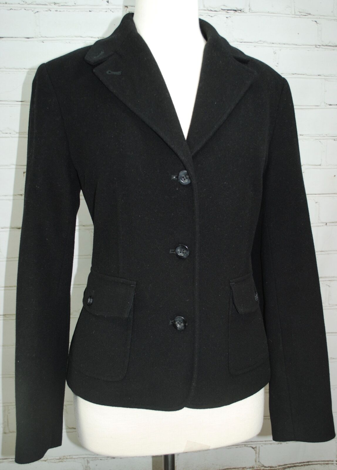 LL BEAN laine angora Soft Blazer Jacket Femme Manteau Größe S SMALL Doublé schwarz