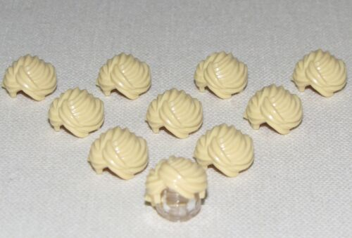 LEGO LOT OF 10 NEW TAN MINIFIGURE SWEPT HAIR PIECES