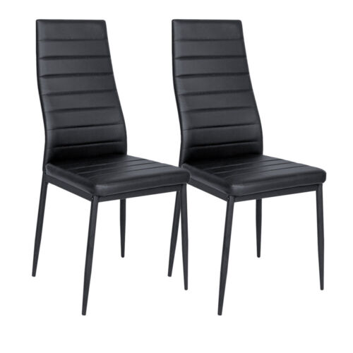 2//4//6x Faux Leather Dining Room Chair Modern High Back Padding Chrome Leg Chairs