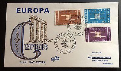Nr 225 Bis 227 Europa 1963 Zielsetzung Zypern F D C Mi