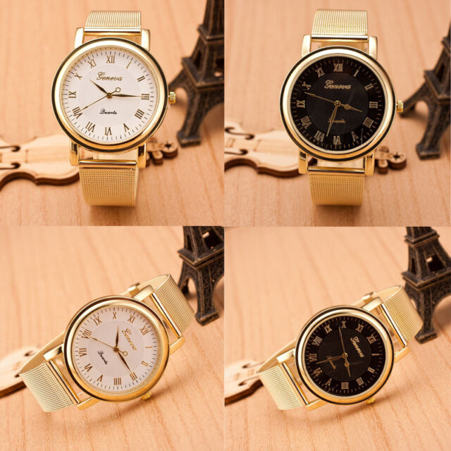 Fashion Gold Classic Womens Geneva Quartz Stainless Steel Wrist Watch Excellent