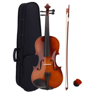 New-Acoustic-Violin-4-4-Full-Size-with-Case-and-Bow-Rosin-Natural
