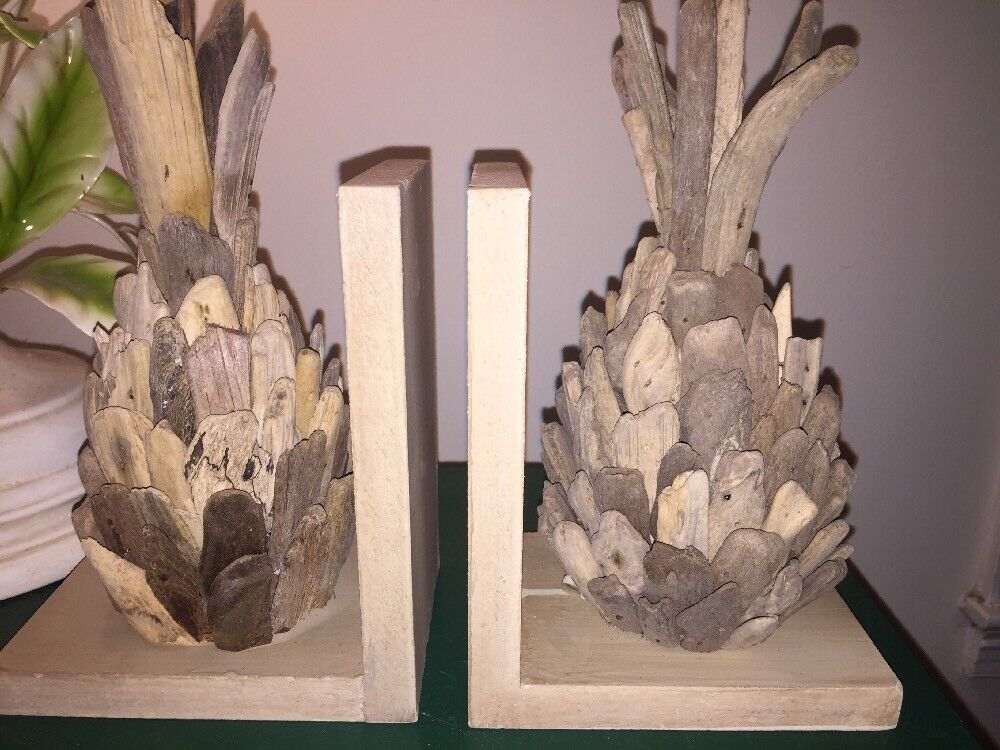 Unique Repurposed Recycled Driftwood Drift Wood Pineapple Bookends Book Ends
