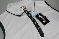 Jrb Moisture Sleeveless Golf Polo Shirt White Gunmetal Grey Trim Size Xl