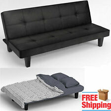 Click Clack Sofa Bed Black Faux Leather 2   3 Seater Modern Double Small  Settee