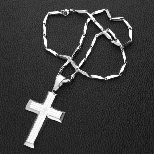 Edelstahl Stäbchen Kette Anhänger Kreuz Vater Unser Spanisch NEU Inschrift Text