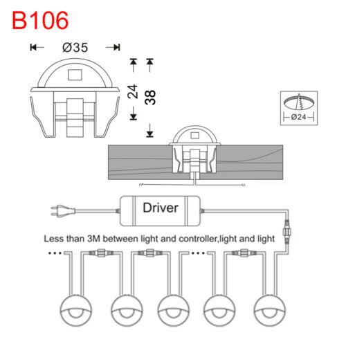 10X35mm Waterproof LED Deck Stair Step Lights Half-Moon Outdoor Yard Decor Lamp