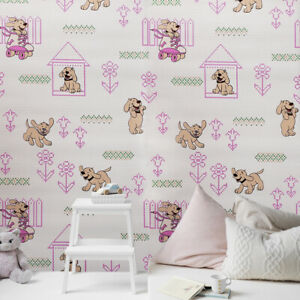 Details About Vinyl Wallpaper Wall Covering Pink Dogs Nursery Kids Room Double Rolls Textured