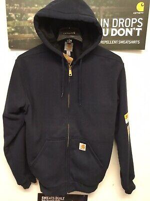 Carhartt Rain Defender Rutland Thermal Lined Zip Sweatshirt Navy 100632 472