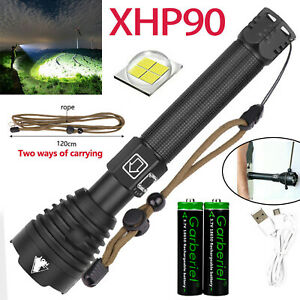 990000LM XHP90.2 26650 LED COB Flashlight USB Rechargeable Powerful Zoom Torch