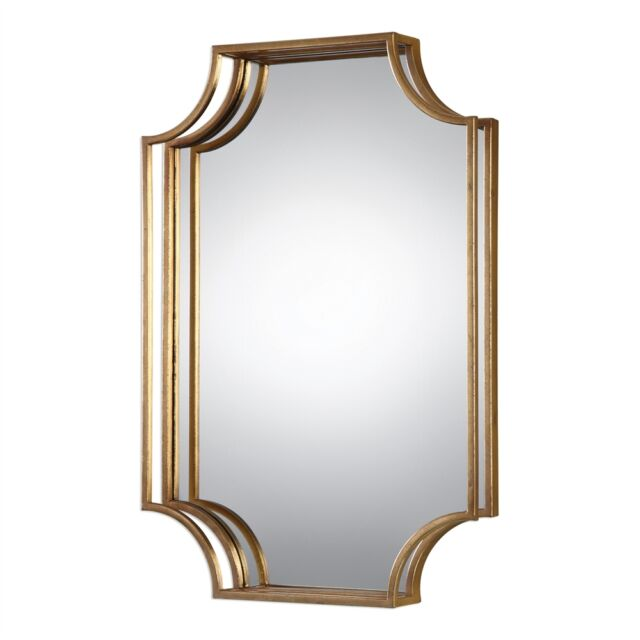 """Geometric Wall Mirror Antique Gold 30"""" Rectangle 3D Open Frame New"""