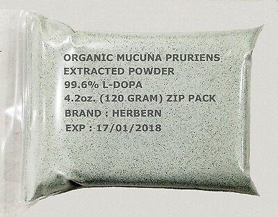 120 GRAM BAG ORGANIC MUCUNA PRURIENS (VELVET BEAN) EXTRACTED POWDER 99.6% L-DOPA