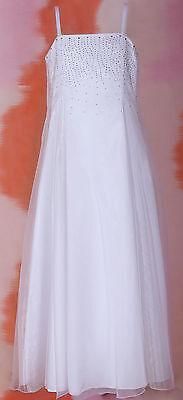 Bridesmaid Flower Girl Formal White Dress for Girls - Sizes 4 6 8 10 12 14