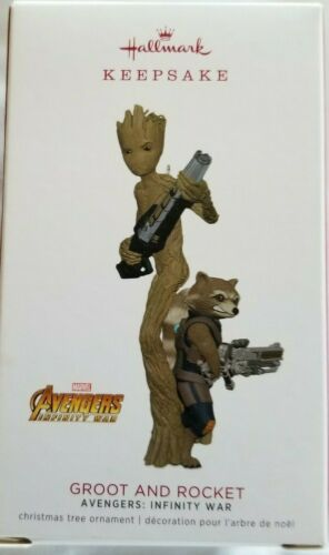 Hallmark 2018 Ornament Advengers Infinity War Groot and Rocket