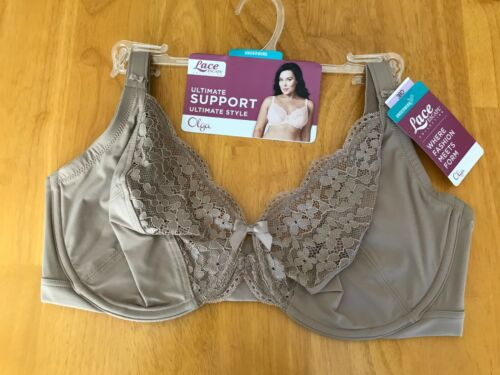 New Olga Beige Lace Escape Ultimate Support Underwire 40D Bra MSRP $42