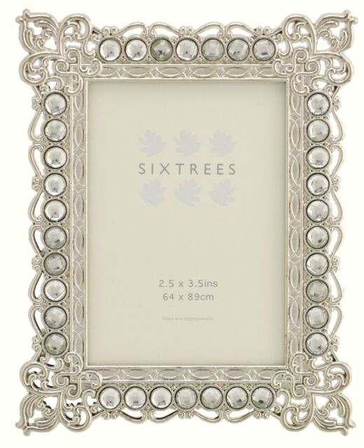 """beads /& crystals 3.5/""""x2.5/"""". Twinpack Vintage Shabby Chic silver photo frames"""