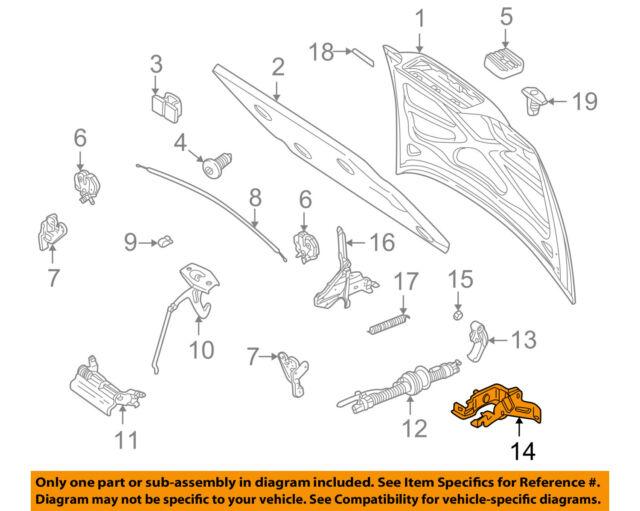 volvo oem 98-00 v70 hood-release handle bracket 9441855