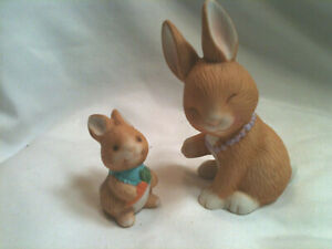 Avon-Bunny-Rabbit-Mother-s-Love-Figurines-Mom-amp-Baby-Bunny-Porcelain-1990-Easter