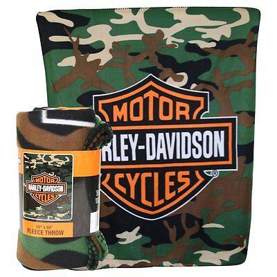 "Harley Davidson Camo Lightweight Fleece Throw Blanket 50""x60"""