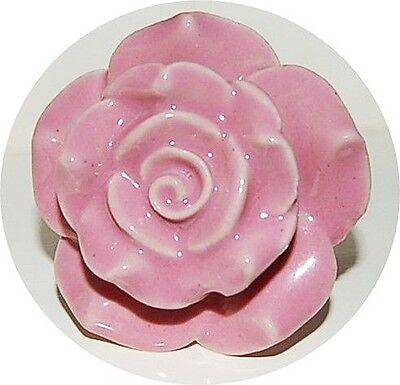 AS MANY* BIG 5.5 CM CERAMIC SHABBY CHIC ROSE FLOWER PINK KNOBS/HANDLES
