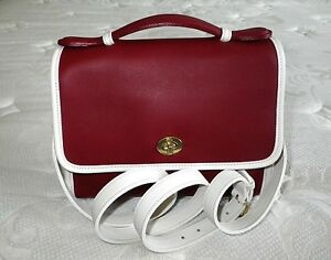 NEW-Coach-Vtg-Classic-RED-Leather-Sm-Court-Messenger-Brief-Tote-Bag-Purse-USA