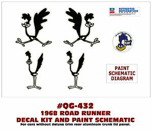 xp qg 432 1968 plymouth road runner multi decal set paint Dolphin Diagram image is loading xp qg 432 1968 plymouth road runner multi