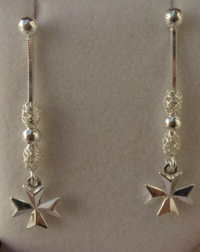 Sterling Silver Filigree handcrafted Oval Balls Earrings with Maltese Cross