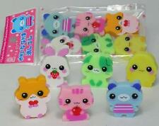 Japanese Style Kawaii Cute Eraser Happy Animals 6 pcs (#885905)