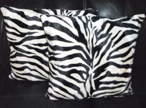 "2 diseño de piel sintética suave Velboa Zebra Cubierta para Cojín Almohadas de dispersión 16/"" 18/"" 20/"""