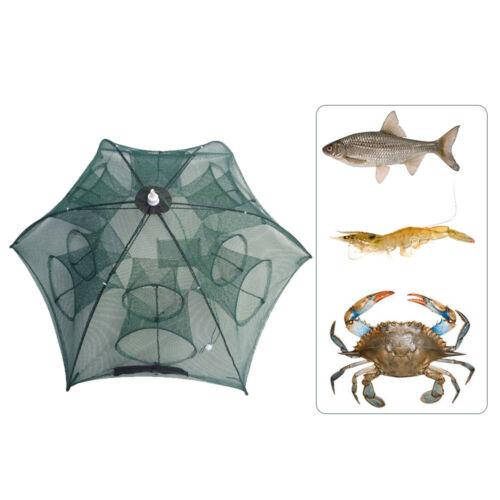 4-20 Hole Foldable Fishing Net Trap Crab Prawn Shrimp Crayfish Bait Cage Mesh UK