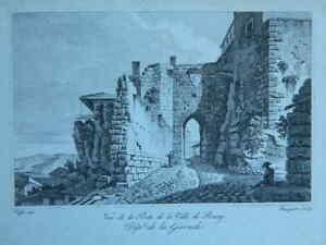 Incisione Di Baugean Dopo Fieffé Vista Porta Di La Città Di Bourg IN Gironda