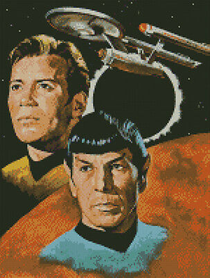 pattern Spock Kirk Cross stitch chart Star Trek Enterprise McCoy