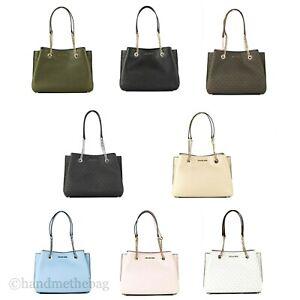 Michael Kors Teagen Large Leather Long Drop Chain Satchel Handbag Purse
