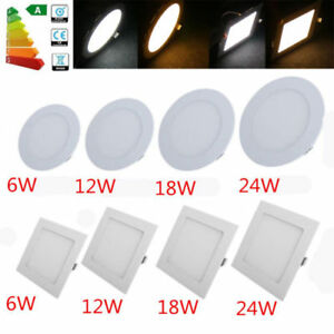 Details About 6 12 18 24w Led Recessed Ceiling Flat Panel Down Light Ultra Slim Round Square