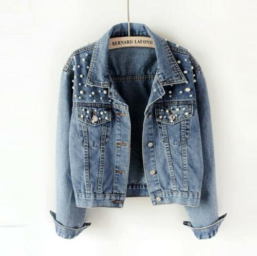 Womens Fashion Washed Old Blue Pearls Denim Jacket Chic Casual Jean Short Coat