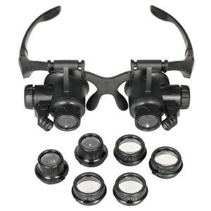 8-lens-Watch-Phone-Repairer-magnifying-Glasses-Led-Light